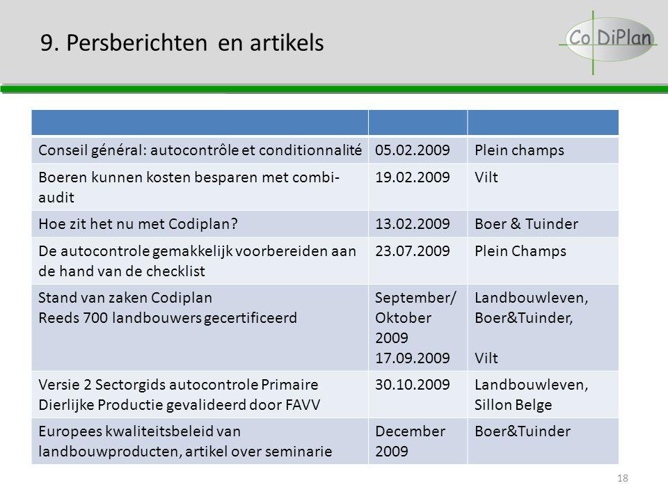9. Persberichten en artikels 18 Conseil général: autocontrôle et conditionnalité05.02.2009Plein champs Boeren kunnen kosten besparen met combi- audit