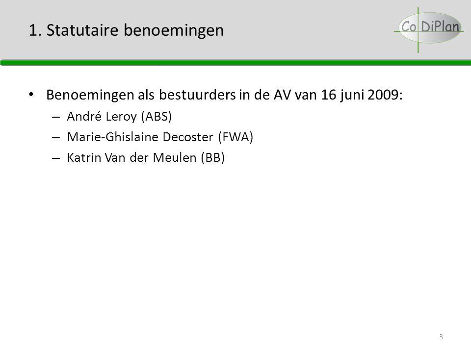 1. Statutaire benoemingen Benoemingen als bestuurders in de AV van 16 juni 2009: – André Leroy (ABS) – Marie-Ghislaine Decoster (FWA) – Katrin Van der