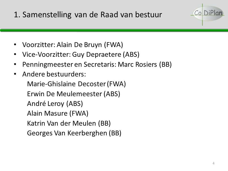 1. Samenstelling van de Raad van bestuur Voorzitter: Alain De Bruyn (FWA) Vice-Voorzitter: Guy Depraetere (ABS) Penningmeester en Secretaris: Marc Ros