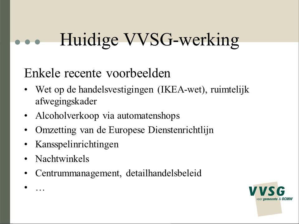 Huidige VVSG-werking Enkele recente voorbeelden Wet op de handelsvestigingen (IKEA-wet), ruimtelijk afwegingskader Alcoholverkoop via automatenshops O