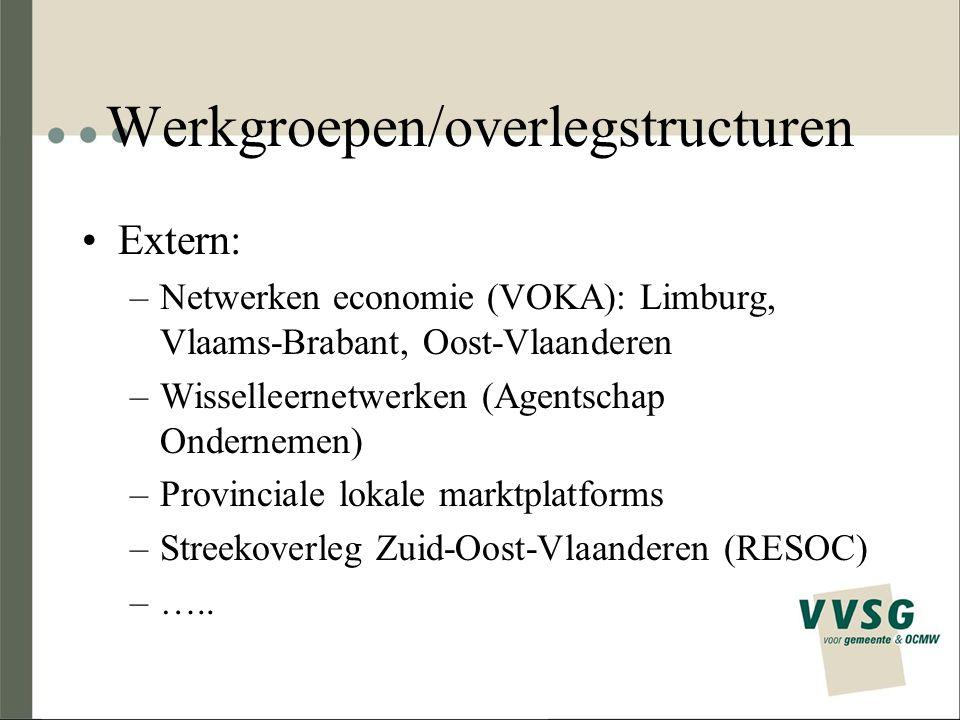 Werkgroepen/overlegstructuren Extern: –Netwerken economie (VOKA): Limburg, Vlaams-Brabant, Oost-Vlaanderen –Wisselleernetwerken (Agentschap Ondernemen) –Provinciale lokale marktplatforms –Streekoverleg Zuid-Oost-Vlaanderen (RESOC) –…..