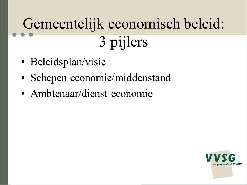Gemeentelijk economisch beleid: 3 pijlers Beleidsplan/visie Schepen economie/middenstand Ambtenaar/dienst economie