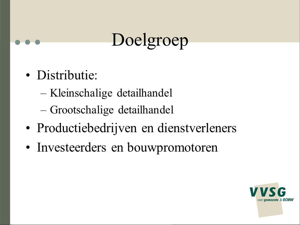 Doelgroep Distributie: –Kleinschalige detailhandel –Grootschalige detailhandel Productiebedrijven en dienstverleners Investeerders en bouwpromotoren