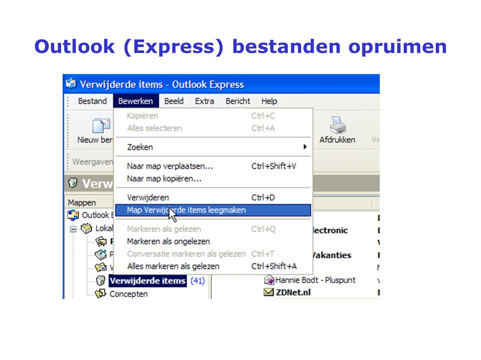 Outlook (Express) bestanden opruimen