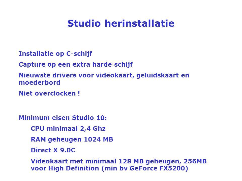 Studio herinstallatie Wanneer/waarom? Als het voorbeeldfilmpje van Studio niet werkt, ben je zeker aan een herinstallatie toe. Er is geen garantie dat