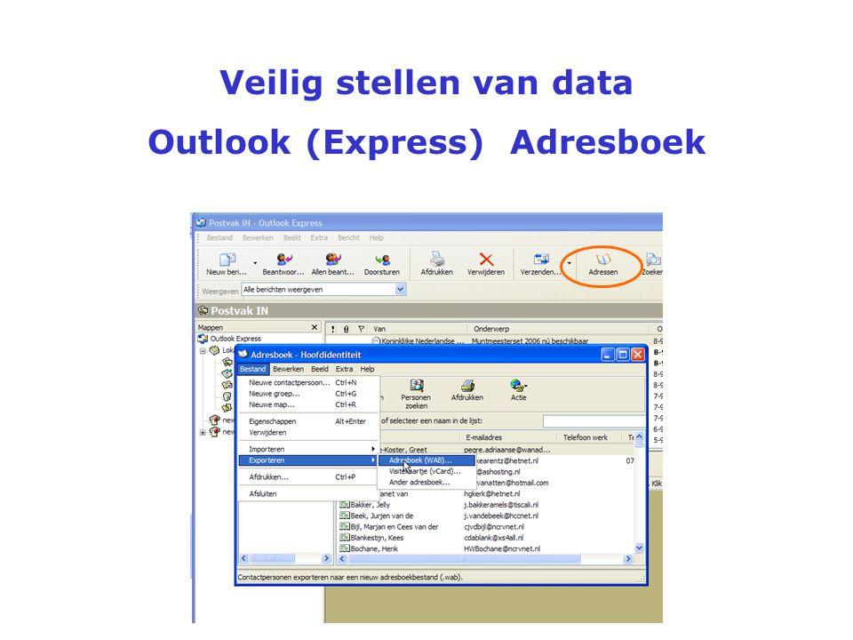 Veilig stellen van data Outlook (Express) Nieuwsgroepen