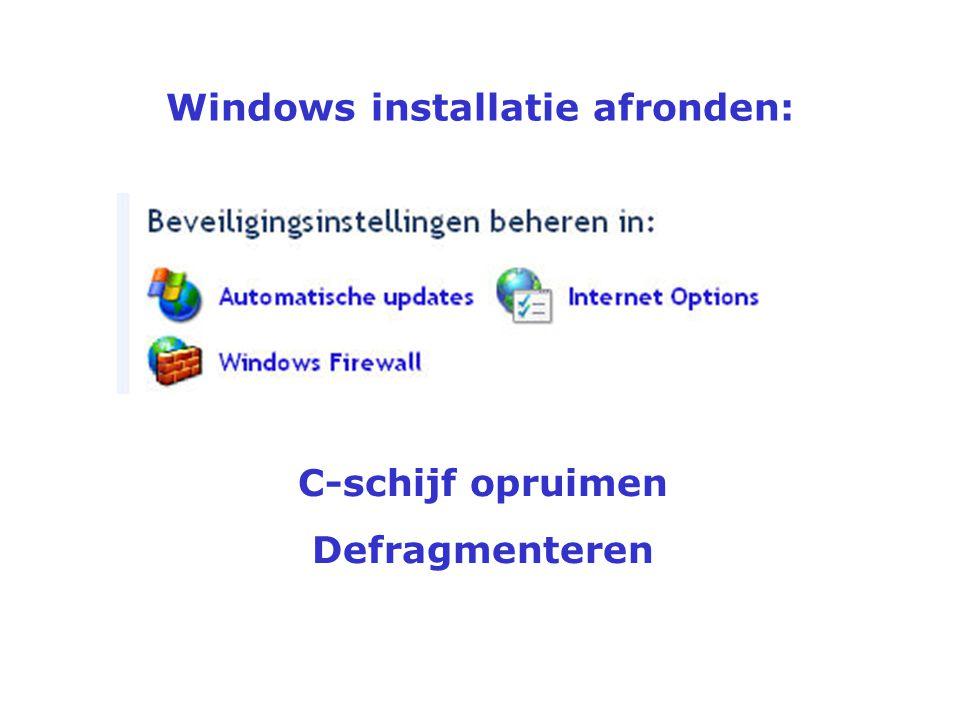 """Windows installatie afronden Virtueel geheugen Rechtsklik """"Deze computer"""""""