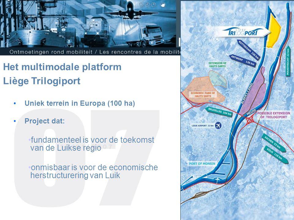 Uniek terrein in Europa (100 ha) Project dat: fundamenteel is voor de toekomst van de Luikse regio onmisbaar is voor de economische herstructurering van Luik Het multimodale platform Liège Trilogiport
