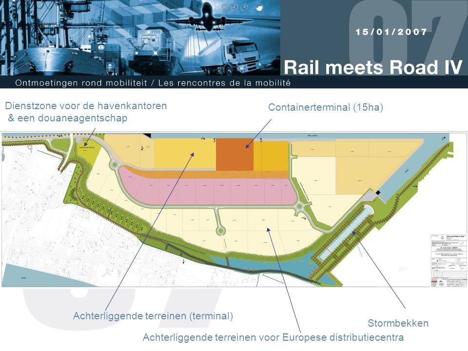 Containerterminal (15ha) Achterliggende terreinen (terminal) Dienstzone voor de havenkantoren & een douaneagentschap Stormbekken Achterliggende terreinen voor Europese distributiecentra