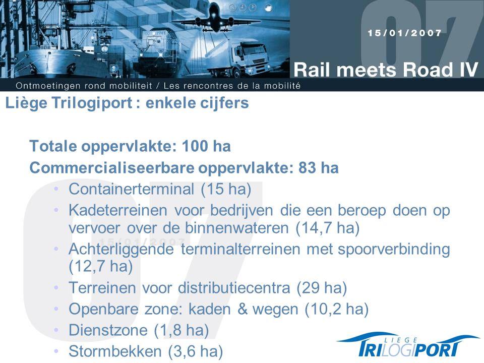 Totale oppervlakte: 100 ha Commercialiseerbare oppervlakte: 83 ha Containerterminal (15 ha) Kadeterreinen voor bedrijven die een beroep doen op vervoer over de binnenwateren (14,7 ha) Achterliggende terminalterreinen met spoorverbinding (12,7 ha) Terreinen voor distributiecentra (29 ha) Openbare zone: kaden & wegen (10,2 ha) Dienstzone (1,8 ha) Stormbekken (3,6 ha) Liège Trilogiport : enkele cijfers