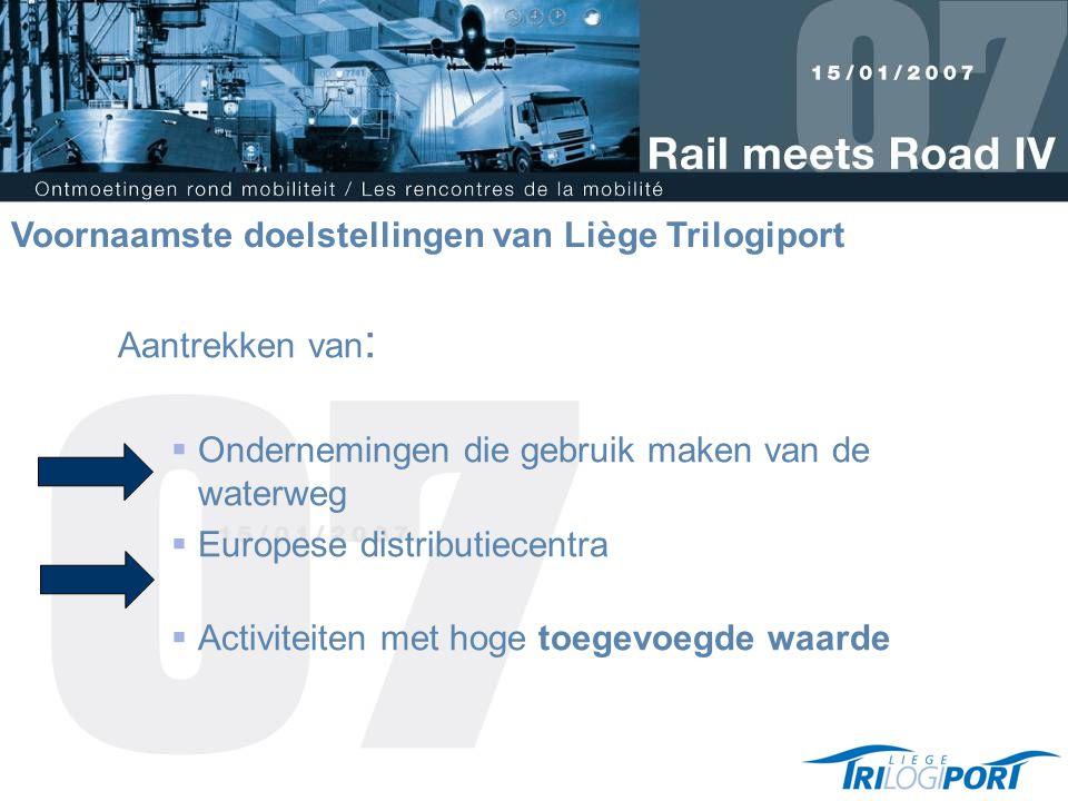 Aantrekken van :  Ondernemingen die gebruik maken van de waterweg  Europese distributiecentra  Activiteiten met hoge toegevoegde waarde Voornaamste doelstellingen van Liège Trilogiport