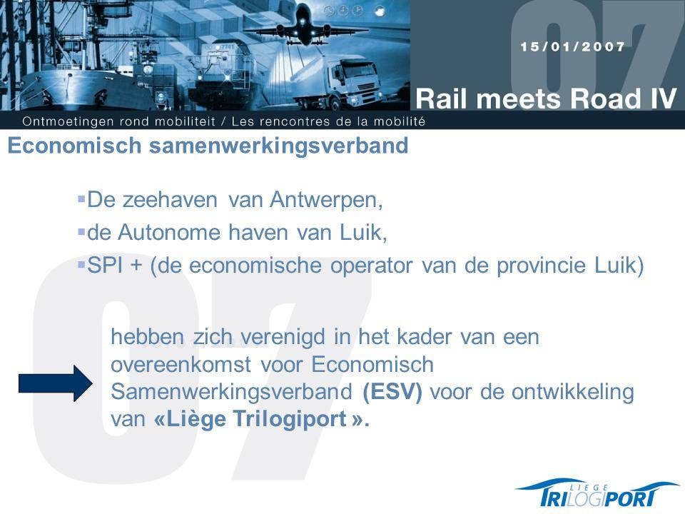  De zeehaven van Antwerpen,  de Autonome haven van Luik,  SPI + (de economische operator van de provincie Luik) hebben zich verenigd in het kader van een overeenkomst voor Economisch Samenwerkingsverband (ESV) voor de ontwikkeling van «Liège Trilogiport ».