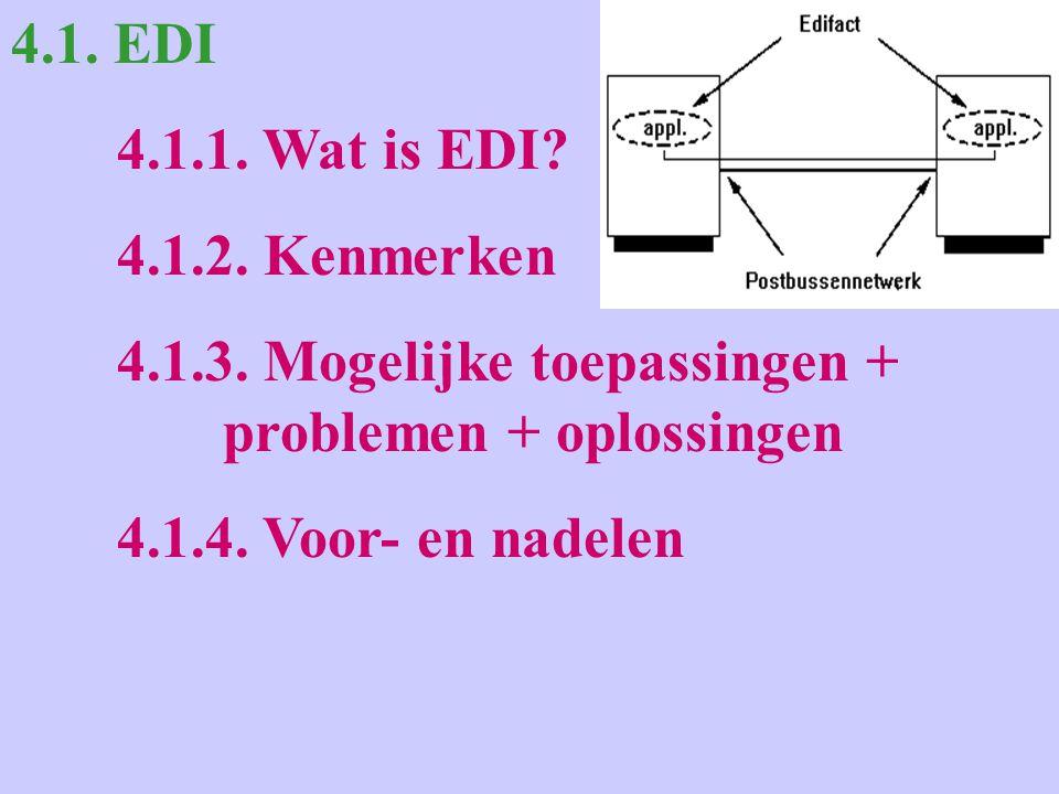 4.1. EDI 4.1.1. Wat is EDI. 4.1.2. Kenmerken 4.1.3.