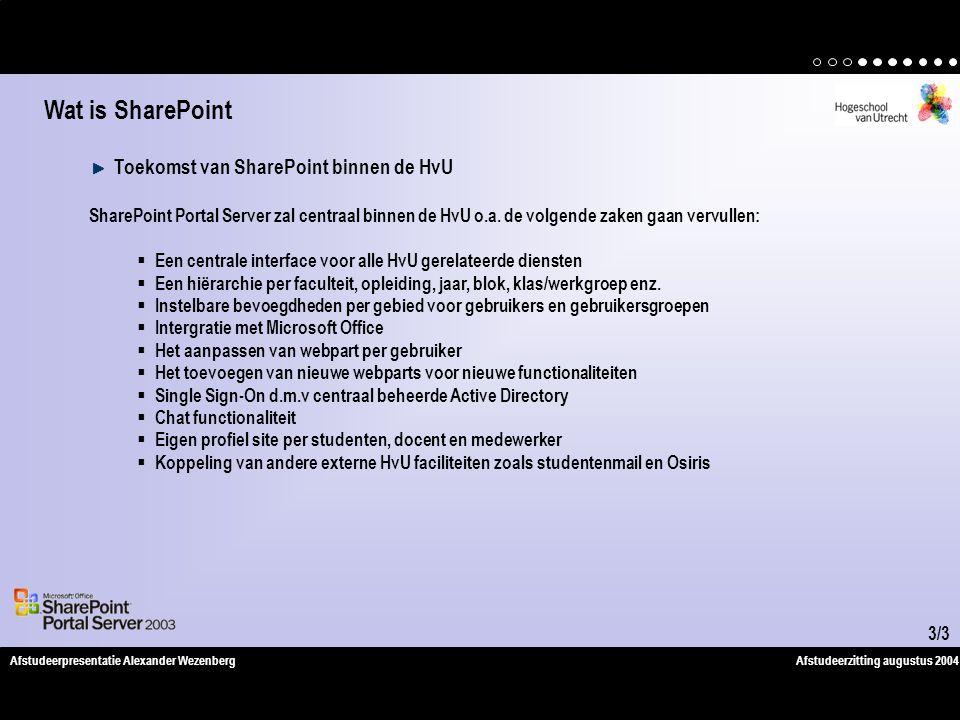 Afstudeerzitting augustus 2004Afstudeerpresentatie Alexander Wezenberg Toekomst van SharePoint binnen de HvU SharePoint Portal Server zal centraal binnen de HvU o.a.