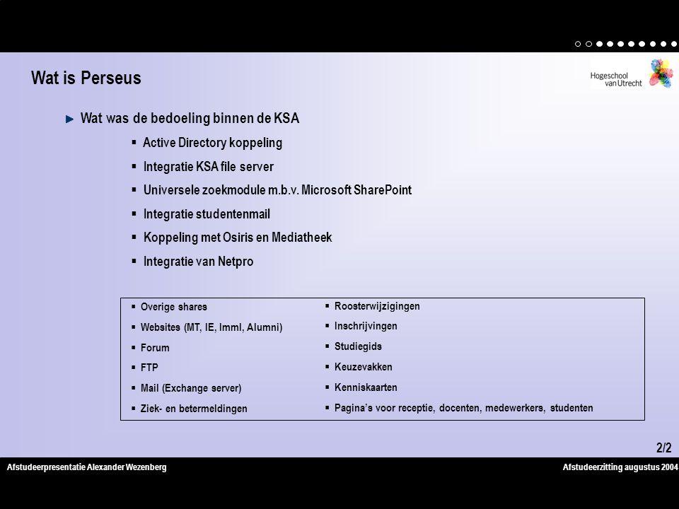 Afstudeerzitting augustus 2004Afstudeerpresentatie Alexander Wezenberg Wat was de bedoeling binnen de KSA  Active Directory koppeling  Integratie KSA file server  Universele zoekmodule m.b.v.