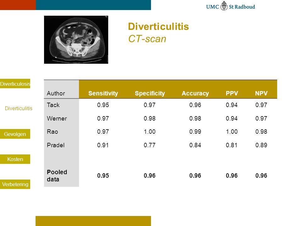 Diverticulosis Diverticulitis Gevolgen Kosten Verbetering AuthorSensitivitySpecificityAccuracyPPVNPV Tack0.950.970.960.940.97 Werner0.970.98 0.940.97