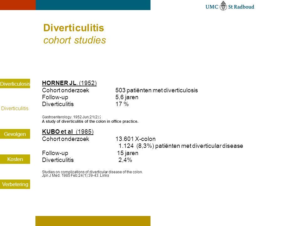 Diverticulosis Diverticulitis Gevolgen Kosten Verbetering HORNER JL. (1952) Cohort onderzoek 503 patiënten met diverticulosis Follow-up 5,6 jaren Dive