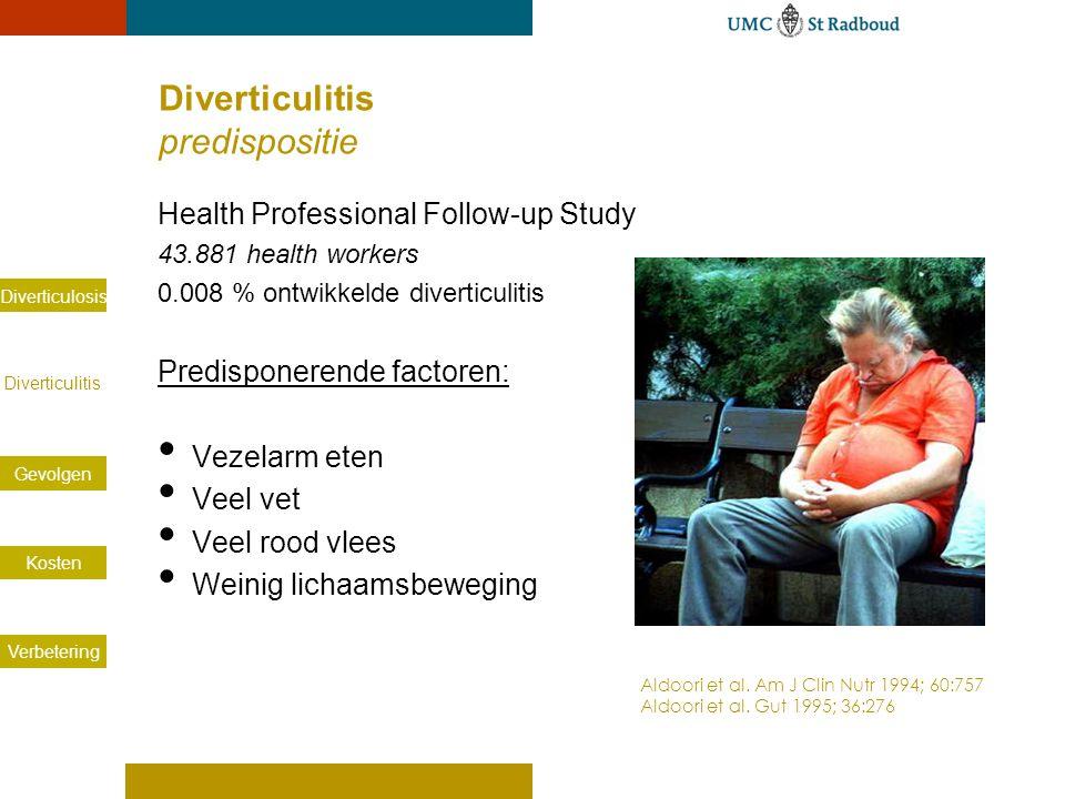 Diverticulosis Diverticulitis Gevolgen Kosten Verbetering Diverticulitis predispositie Health Professional Follow-up Study 43.881 health workers 0.008