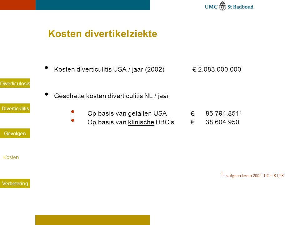 Diverticulosis Diverticulitis Gevolgen Kosten Verbetering Kosten divertikelziekte Kosten diverticulitis USA / jaar (2002) € 2.083.000.000 Geschatte ko