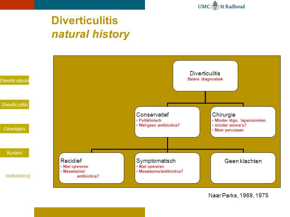 Diverticulosis Diverticulitis Gevolgen Kosten Verbetering Diverticulitis natural history Diverticulitis Betere diagnostiek Conservatief Poliklinisch W