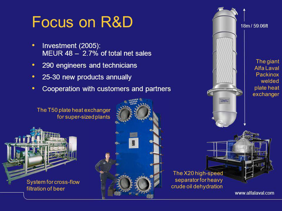 www.alfalaval.com The giant Alfa Laval Packinox welded plate heat exchanger Focus on R&D Investment (2005): MEUR 48 – 2.7% of total net sales 290 engi