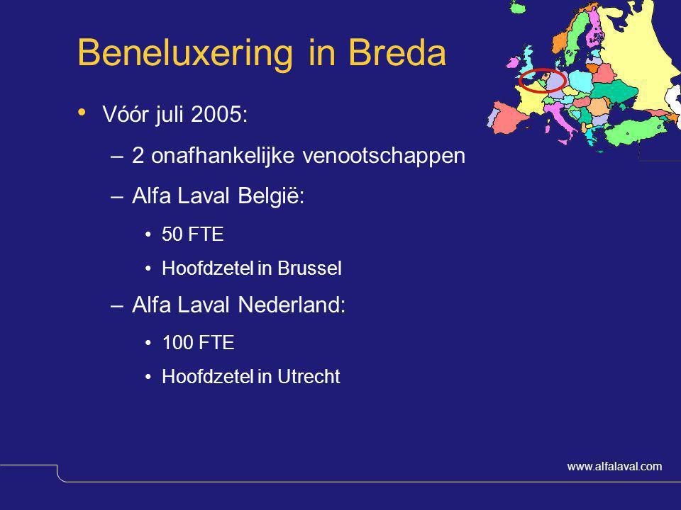www.alfalaval.com Beneluxering in Breda Vóór juli 2005: –2 onafhankelijke venootschappen –Alfa Laval België: 50 FTE Hoofdzetel in Brussel –Alfa Laval