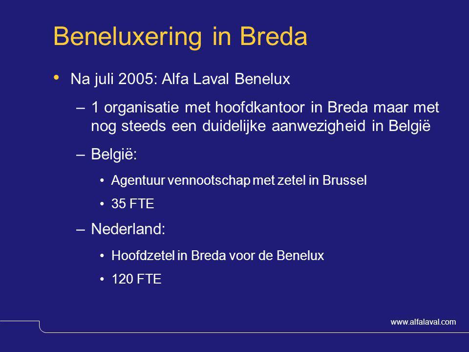 www.alfalaval.com Beneluxering in Breda Na juli 2005: Alfa Laval Benelux –1 organisatie met hoofdkantoor in Breda maar met nog steeds een duidelijke a