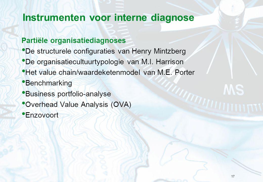 17 Instrumenten voor interne diagnose Partiële organisatiediagnoses De structurele configuraties van Henry Mintzberg De organisatiecultuurtypologie va