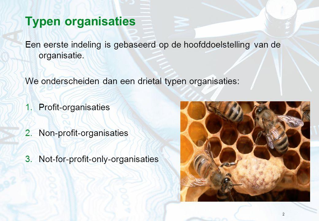 2 Typen organisaties Een eerste indeling is gebaseerd op de hoofddoelstelling van de organisatie. We onderscheiden dan een drietal typen organisaties: