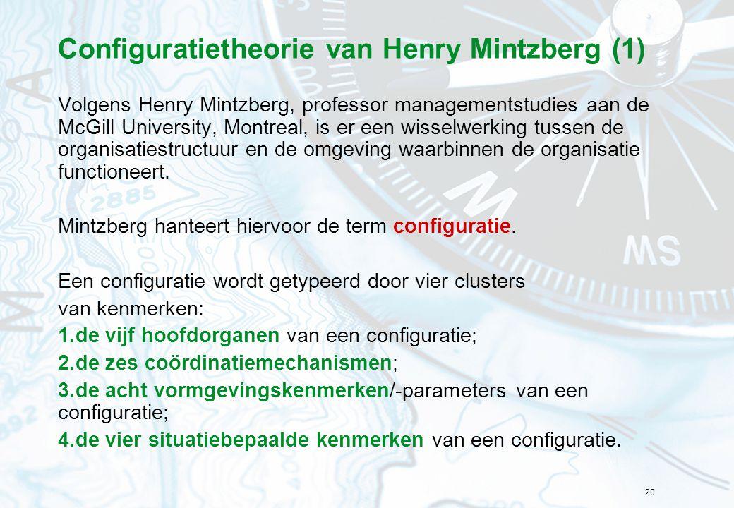 20 Configuratietheorie van Henry Mintzberg (1) Volgens Henry Mintzberg, professor managementstudies aan de McGill University, Montreal, is er een wisselwerking tussen de organisatiestructuur en de omgeving waarbinnen de organisatie functioneert.