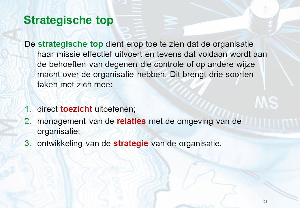 23 Strategische top De strategische top dient erop toe te zien dat de organisatie haar missie effectief uitvoert en tevens dat voldaan wordt aan de behoeften van degenen die controle of op andere wijze macht over de organisatie hebben.