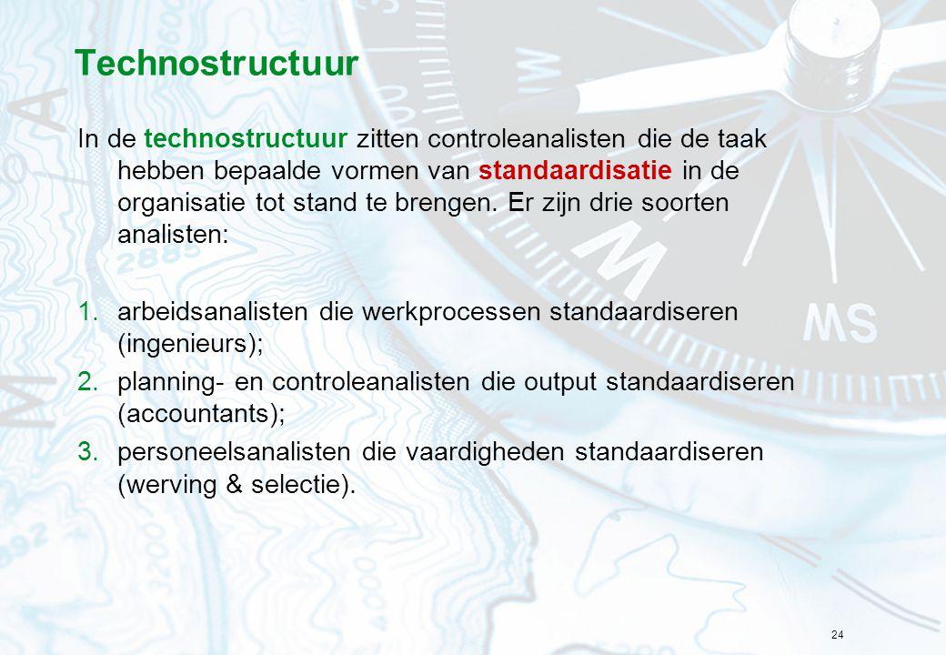 24 Technostructuur In de technostructuur zitten controleanalisten die de taak hebben bepaalde vormen van standaardisatie in de organisatie tot stand t