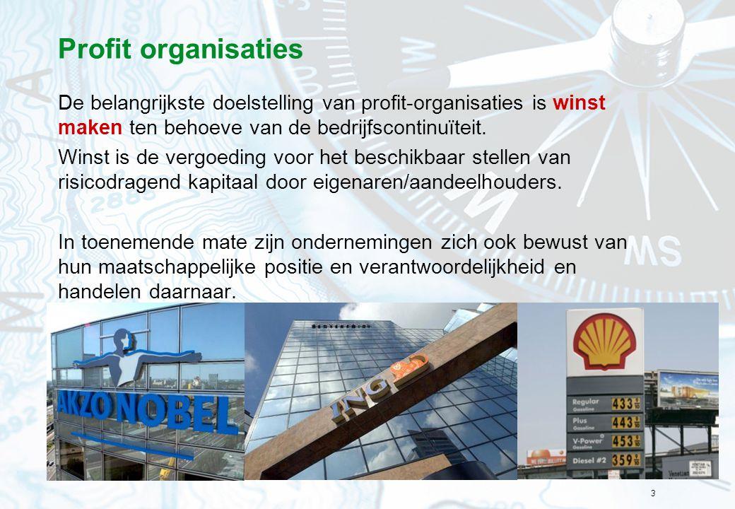 3 Profit organisaties De belangrijkste doelstelling van profit-organisaties is winst maken ten behoeve van de bedrijfscontinuïteit. Winst is de vergoe