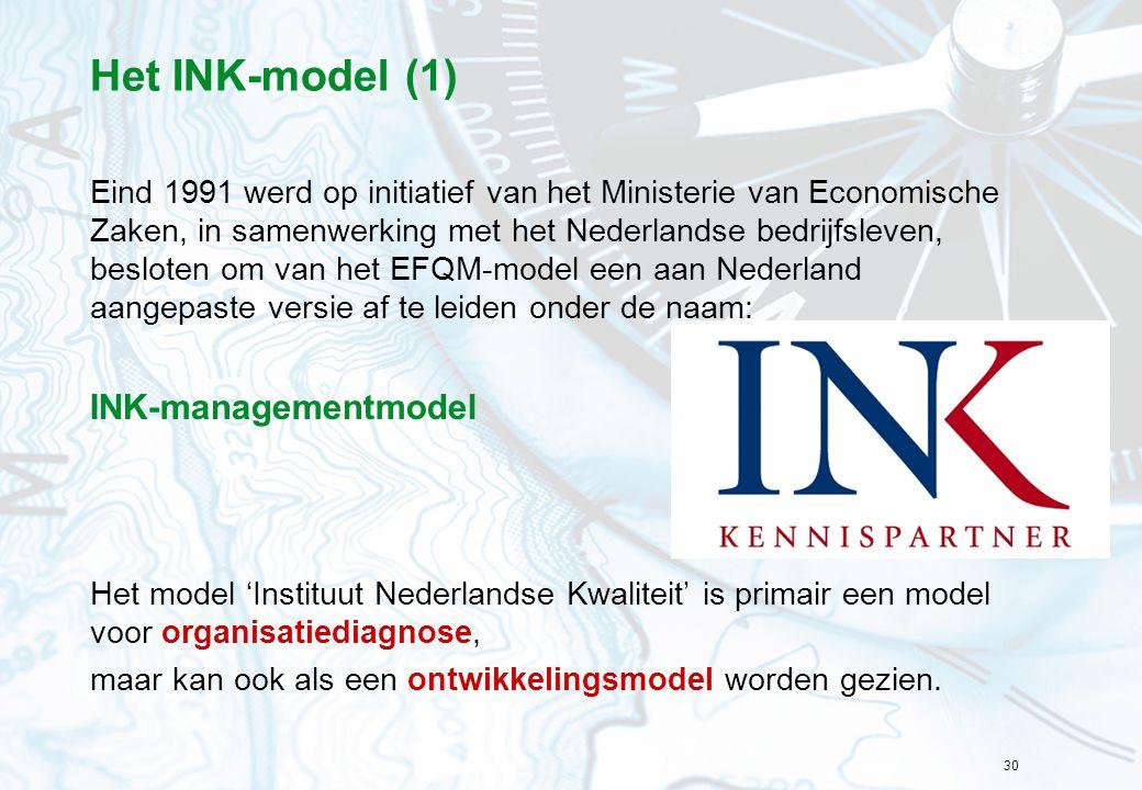 30 Het INK-model (1) Eind 1991 werd op initiatief van het Ministerie van Economische Zaken, in samenwerking met het Nederlandse bedrijfsleven, beslote