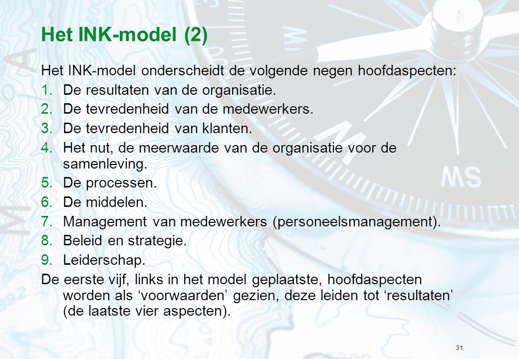31 Het INK-model (2) Het INK-model onderscheidt de volgende negen hoofdaspecten: 1.De resultaten van de organisatie. 2.De tevredenheid van de medewerk