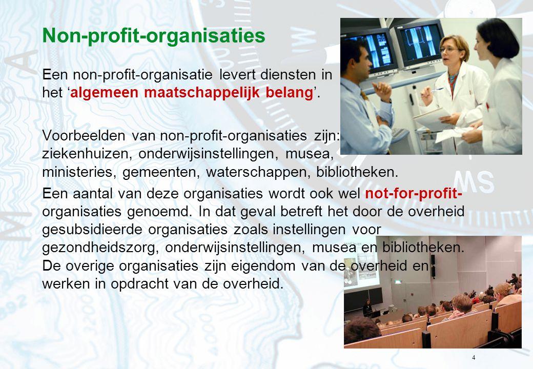 4 Non-profit-organisaties Een non-profit-organisatie levert diensten in het 'algemeen maatschappelijk belang'. Voorbeelden van non-profit-organisaties