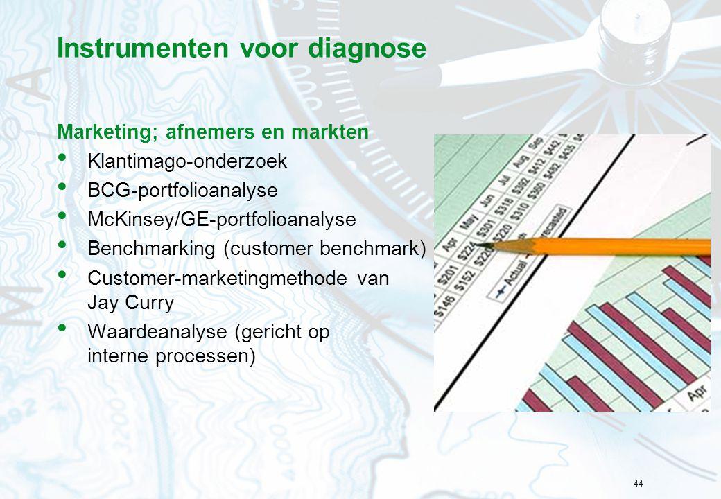 44 Instrumenten voor diagnose Marketing; afnemers en markten Klantimago-onderzoek BCG-portfolioanalyse McKinsey/GE-portfolioanalyse Benchmarking (customer benchmark) Customer-marketingmethode van Jay Curry Waardeanalyse (gericht op interne processen)