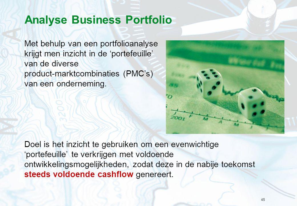 45 Analyse Business Portfolio Met behulp van een portfolioanalyse krijgt men inzicht in de 'portefeuille' van de diverse product-marktcombinaties (PMC
