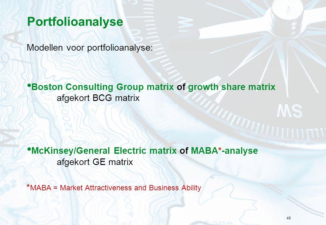 46 Portfolioanalyse Modellen voor portfolioanalyse: Boston Consulting Group matrix of growth share matrix afgekort BCG matrix McKinsey/General Electri