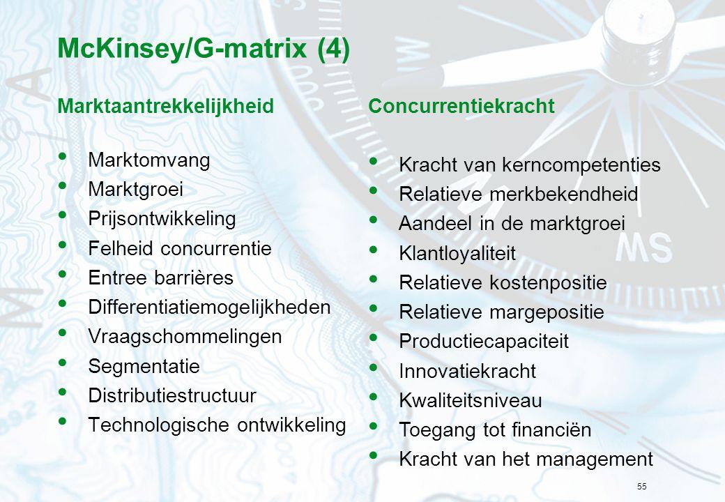 55 McKinsey/G-matrix (4) Marktaantrekkelijkheid Marktomvang Marktgroei Prijsontwikkeling Felheid concurrentie Entree barrières Differentiatiemogelijkh