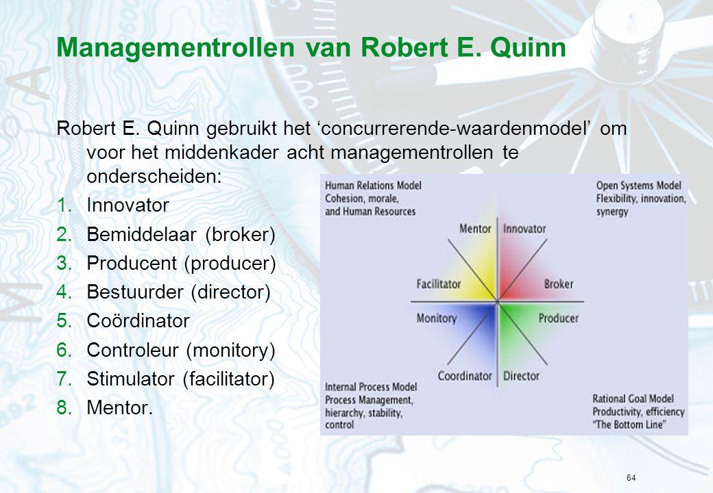 64 Managementrollen van Robert E. Quinn Robert E. Quinn gebruikt het 'concurrerende-waardenmodel' om voor het middenkader acht managementrollen te ond