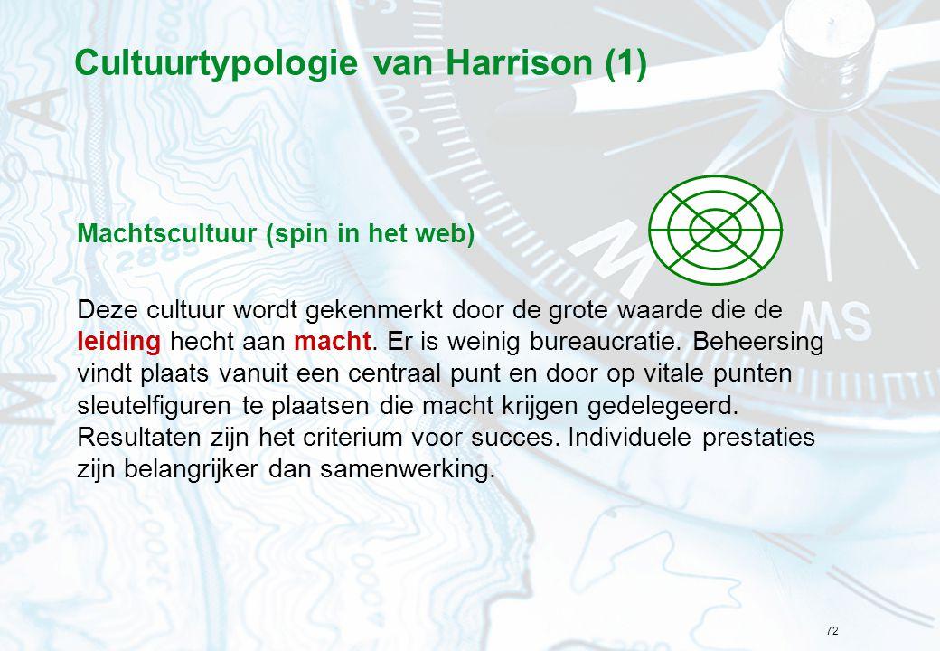 72 Cultuurtypologie van Harrison (1) Machtscultuur (spin in het web) Deze cultuur wordt gekenmerkt door de grote waarde die de leiding hecht aan macht.