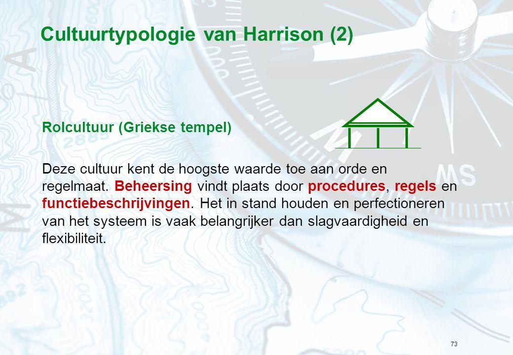 73 Cultuurtypologie van Harrison (2) Rolcultuur (Griekse tempel) Deze cultuur kent de hoogste waarde toe aan orde en regelmaat. Beheersing vindt plaat