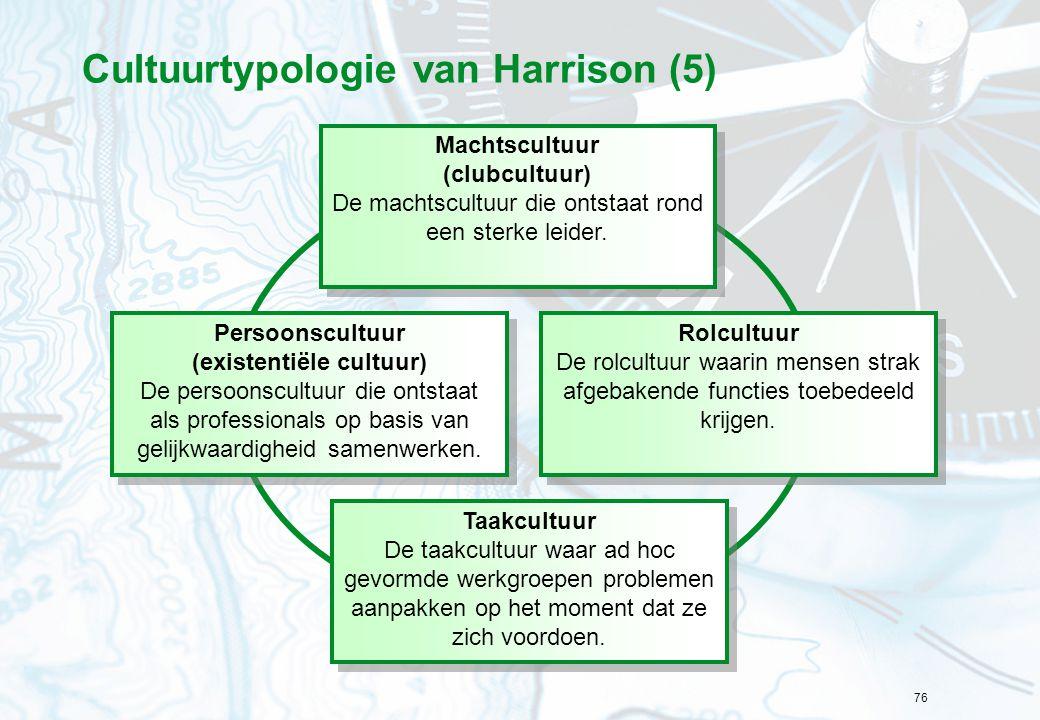 76 Cultuurtypologie van Harrison (5) Machtscultuur (clubcultuur) De machtscultuur die ontstaat rond een sterke leider. Machtscultuur (clubcultuur) De