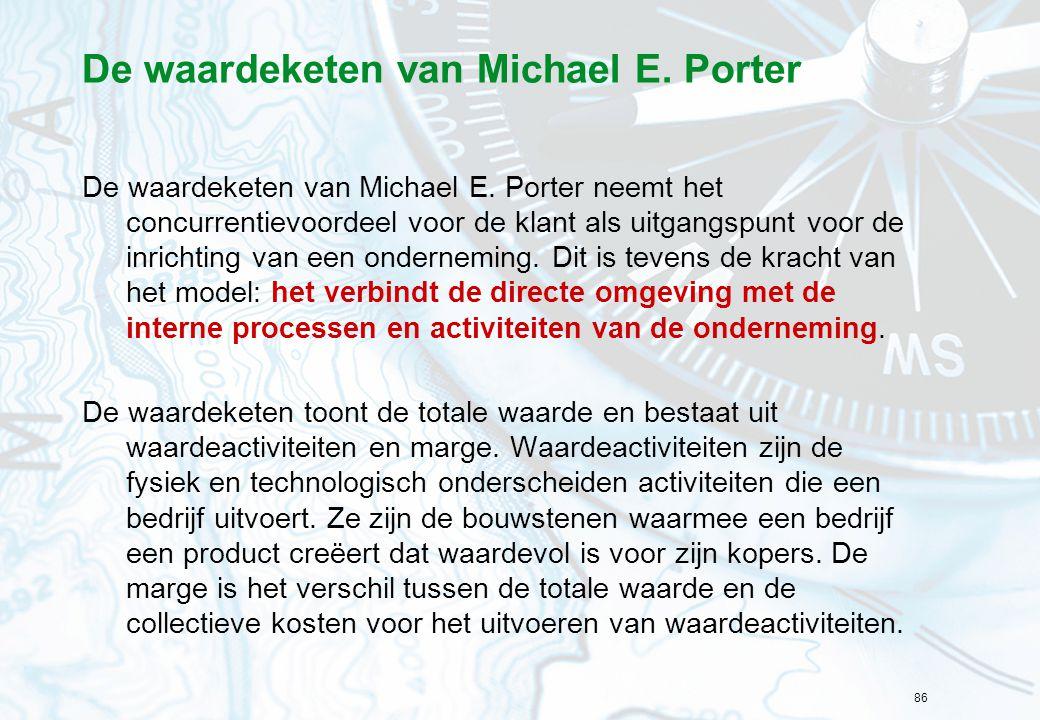 86 De waardeketen van Michael E. Porter De waardeketen van Michael E. Porter neemt het concurrentievoordeel voor de klant als uitgangspunt voor de inr