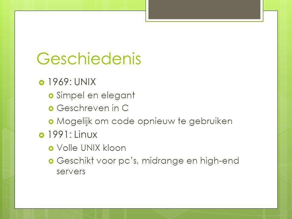 Geschiedenis  1969: UNIX  Simpel en elegant  Geschreven in C  Mogelijk om code opnieuw te gebruiken  1991: Linux  Volle UNIX kloon  Geschikt vo