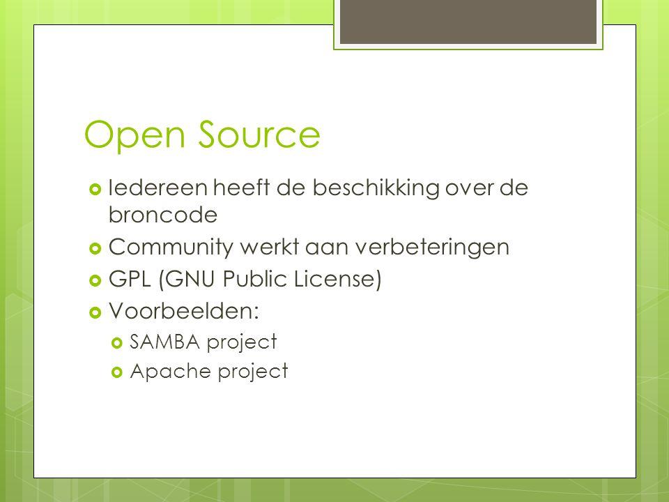 Open Source  Iedereen heeft de beschikking over de broncode  Community werkt aan verbeteringen  GPL (GNU Public License)  Voorbeelden:  SAMBA pro