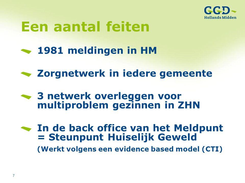 7 Een aantal feiten 1981 meldingen in HM Zorgnetwerk in iedere gemeente 3 netwerk overleggen voor multiproblem gezinnen in ZHN In de back office van h