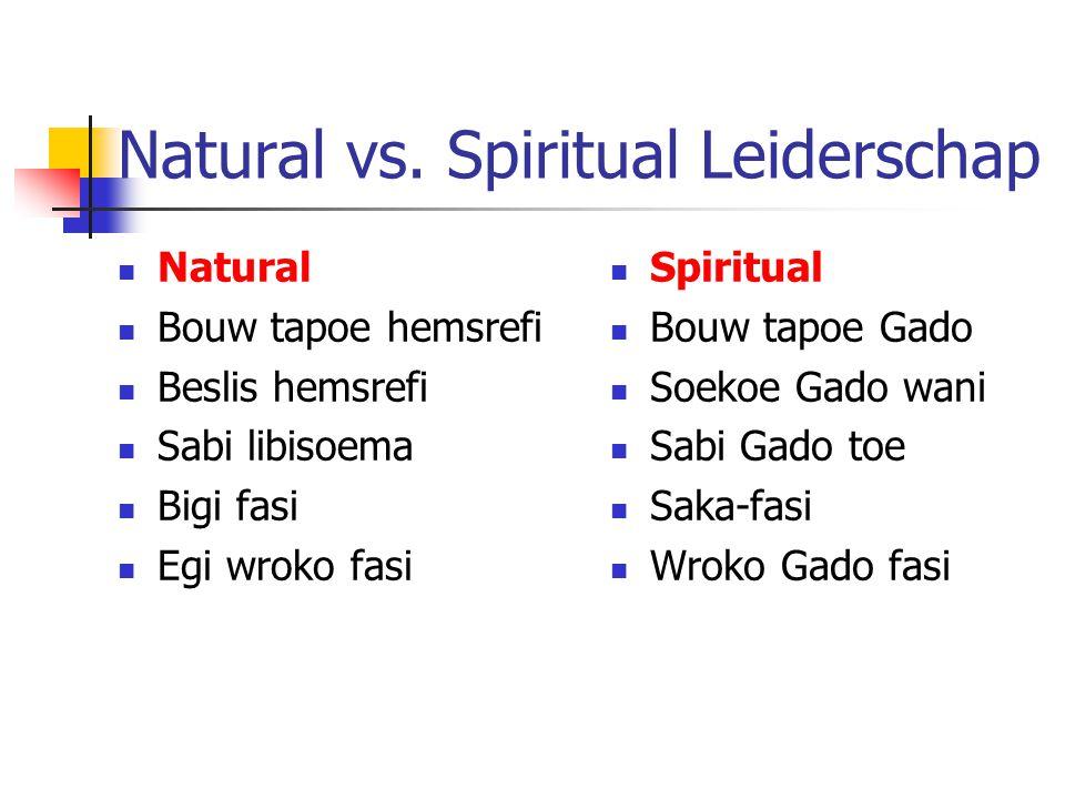Natural vs. Spiritual Leiderschap Natural Bouw tapoe hemsrefi Beslis hemsrefi Sabi libisoema Bigi fasi Egi wroko fasi Spiritual Bouw tapoe Gado Soekoe
