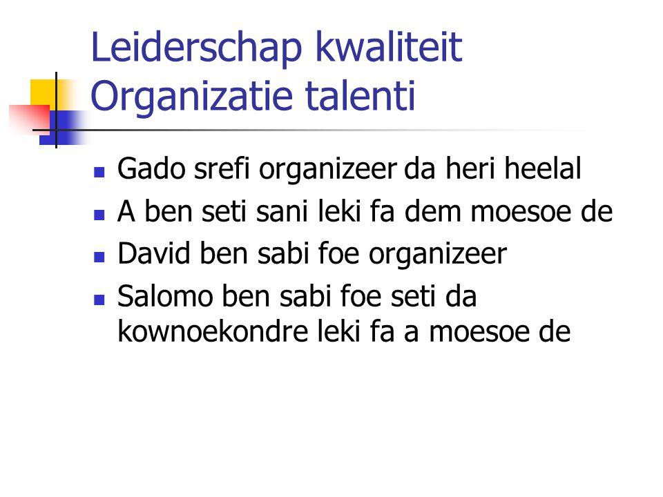 Leiderschap kwaliteit Organizatie talenti Gado srefi organizeer da heri heelal A ben seti sani leki fa dem moesoe de David ben sabi foe organizeer Sal
